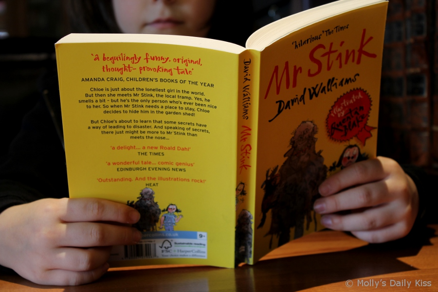 8 year old reading Mr Stink by David Walliams