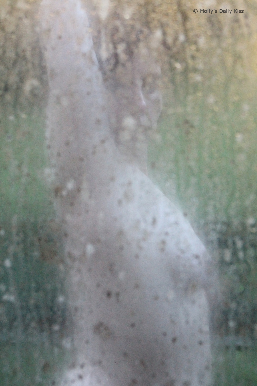 Naked woman through dirty window