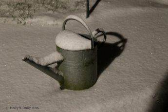 Watercan covered in glittery snow
