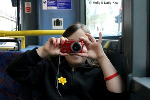 Taking my picture on the bus
