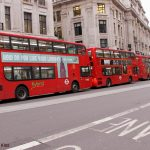 A line of London buses