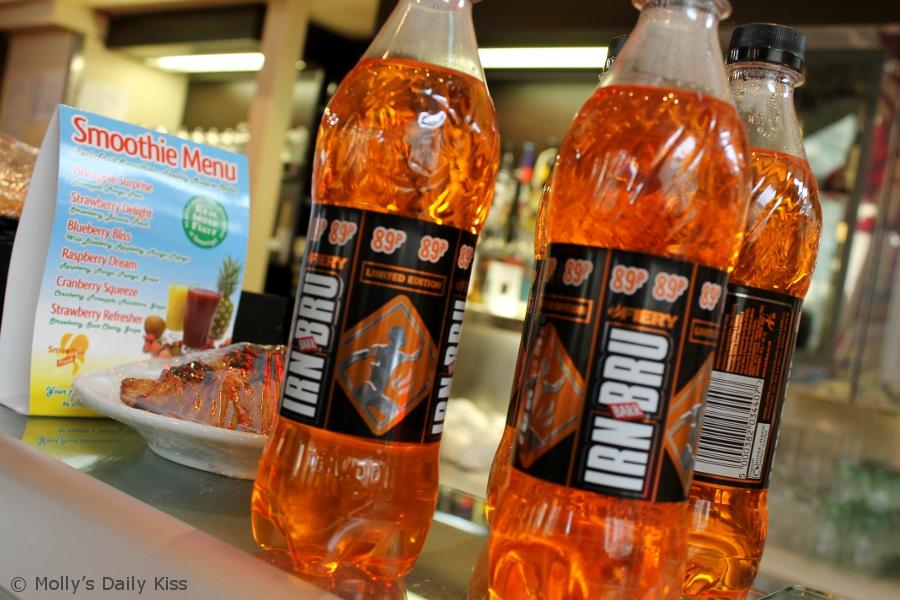 orange bottles of Irn Bru