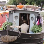 Regents Canal boat with laundry