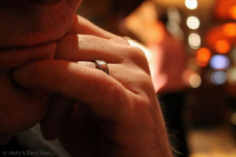 man wearing wedding ring