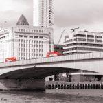 Red london bus on London Bridge