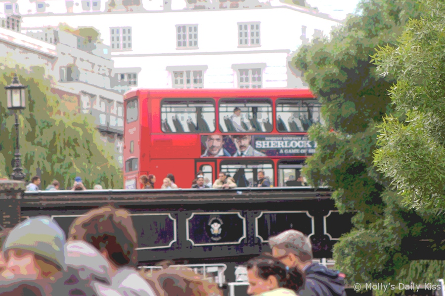 London bus on the bridge at Camden