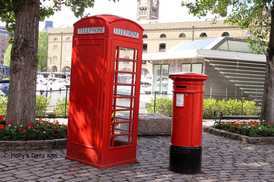 Red phone box and letter box in St Katherines Dock London