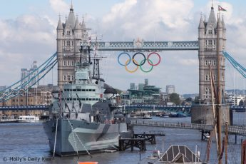 Tower Bridge with HMS Belfast & the Olympic rings
