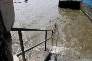 Steps down into the river Thames