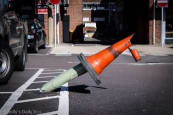 knocked over parking cone in car park. Parking nightmares