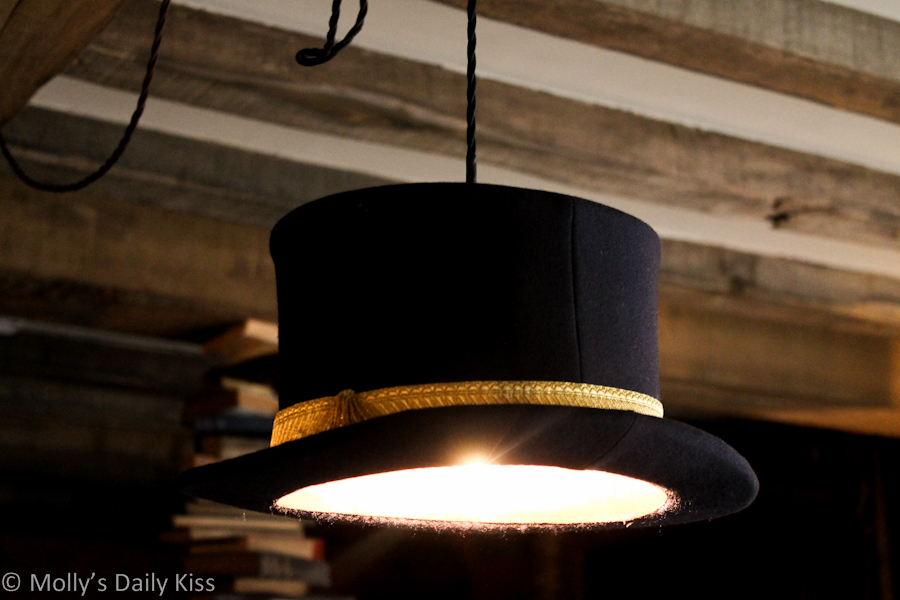 Top hat used as a lamp shade The bell Inn, ticehurst