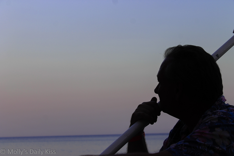 Thoughtful man at sunset