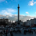 Blue sky over Trafalgar Square