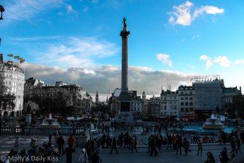 Blue sky over Trafalgar Square
