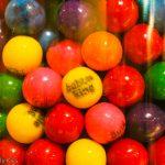 Bubble gum in glass jar