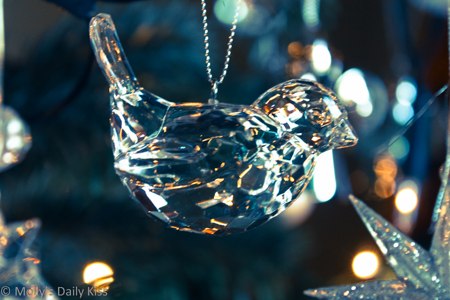 Glass bird Christmas decoration