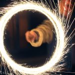Spinning sparkler on Bonfire night