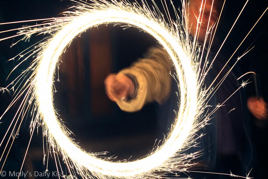 Spinning sparkler on Bonfire night