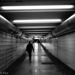 Black and white shot of philadelphia subway