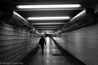 Black and white shot of philadelphia subway