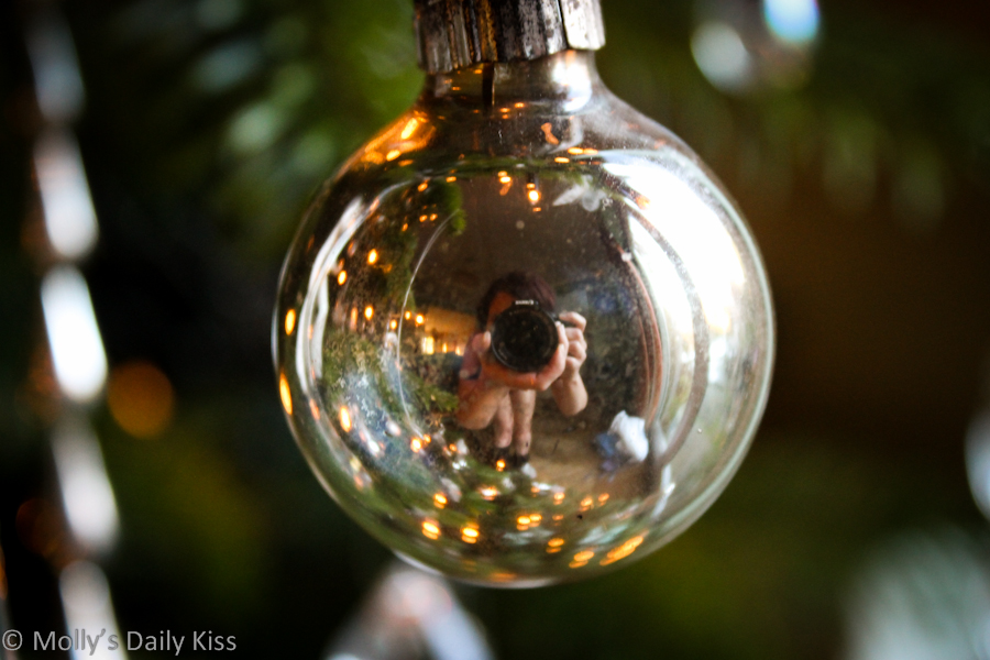Self portrait in a Christmas decoration