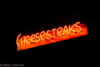 Cheesesteak neon sign in Reading Terminal Market