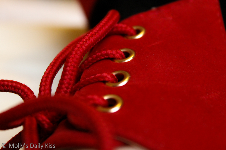 Red laces in red shoes