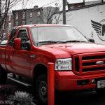 Red truck parked in Girard Philadelphia