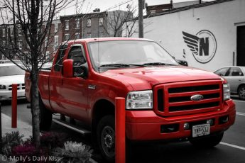 Red truck parked in Girard Philadelphia