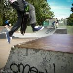 Boy at skateboard park