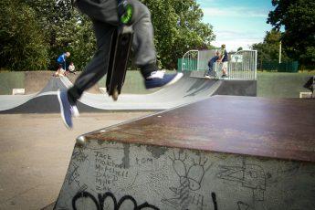 Boy at skateboard park