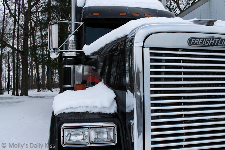 Nose of a truck in the snow