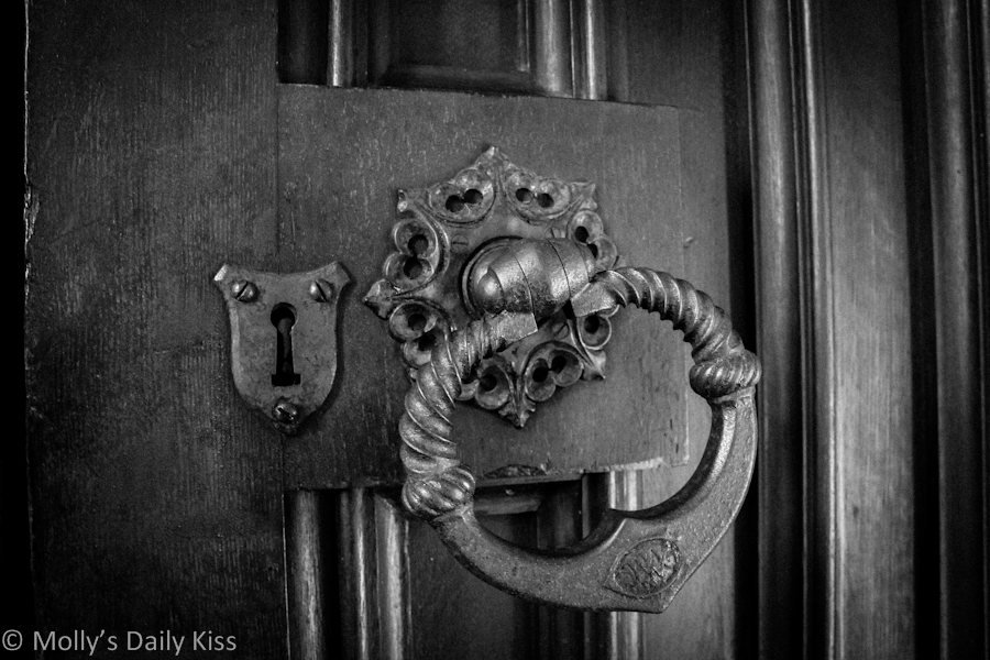 Large door handle on church door