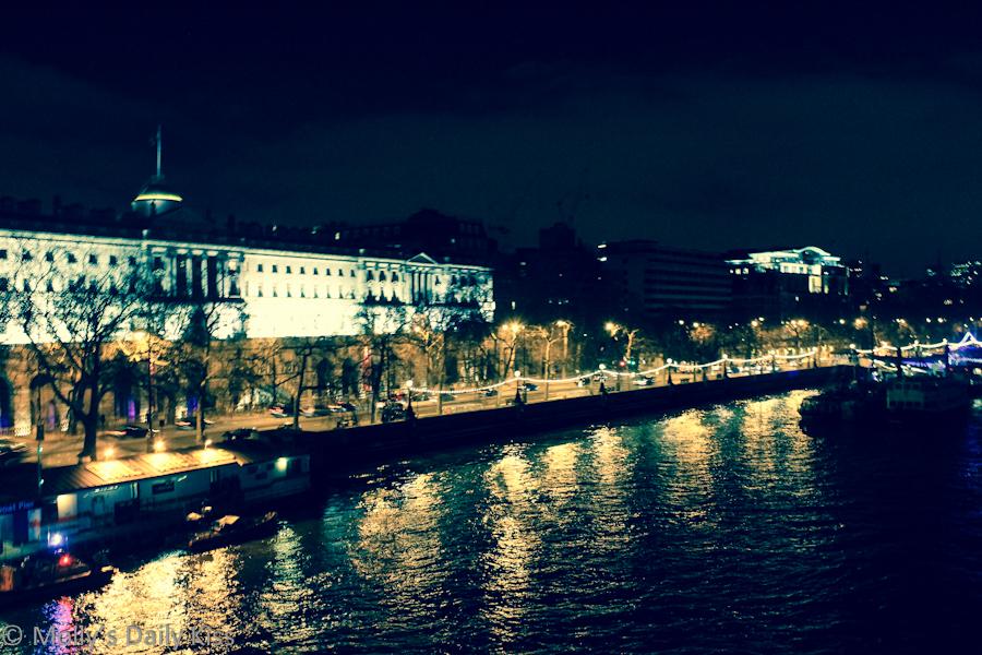 Embankment London at night