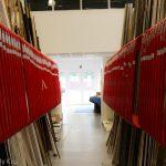 Red corridor at the framing shop