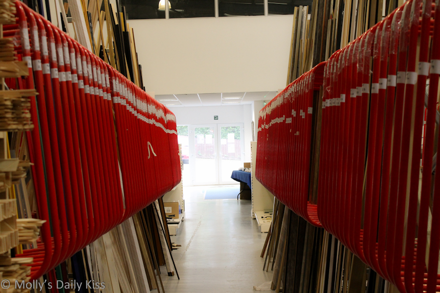 Red corridor at the framing shop