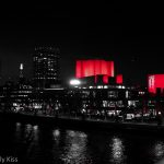 National Theatre in London light up at night
