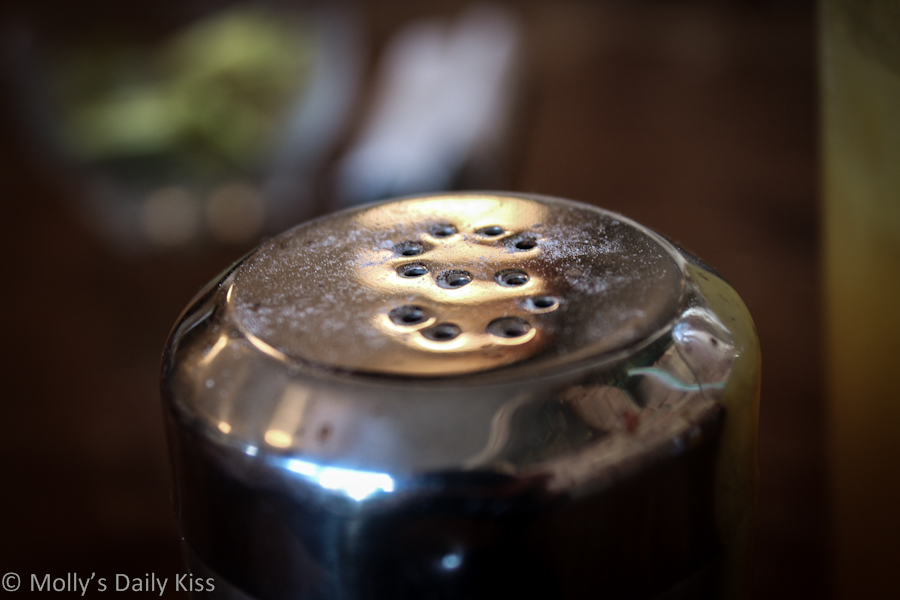 Macro shot of salt pot
