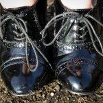 Shiney black patent lace up high heels