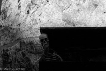 Skelton in the Hell Fire caves