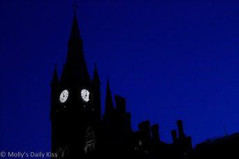 St Pancras Station skyline at night