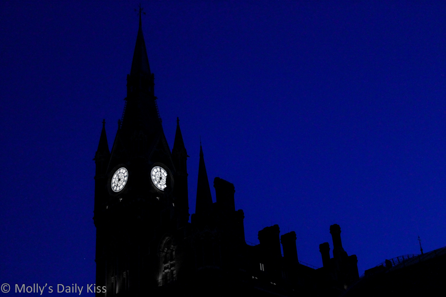 St Pancras Station skyline at night