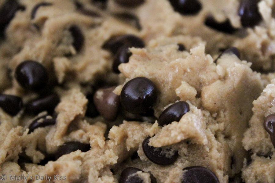 Chocolate Chip Cookie Dough Macro shot