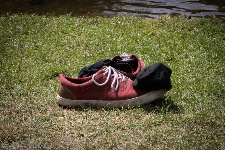 Shoes left on the shore