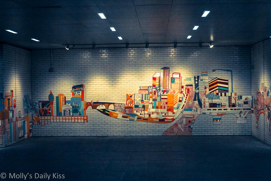 mosiac art on Philadelphia subway