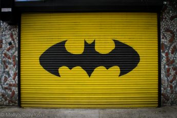 Batman sign on garage door, Philadelphia