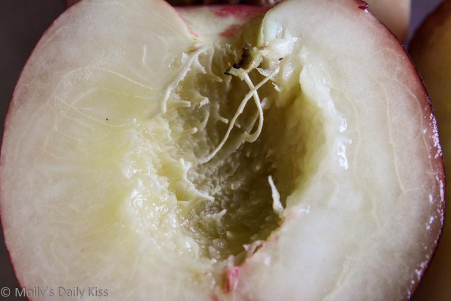 Macro shot of the inside of a nectarine