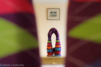 Funky socks on legs