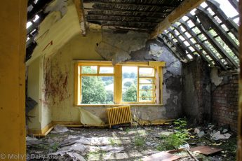 Deralict house in Derbyshire yellow room