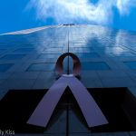 Pink breast cancer ribbon on building in Atlanta